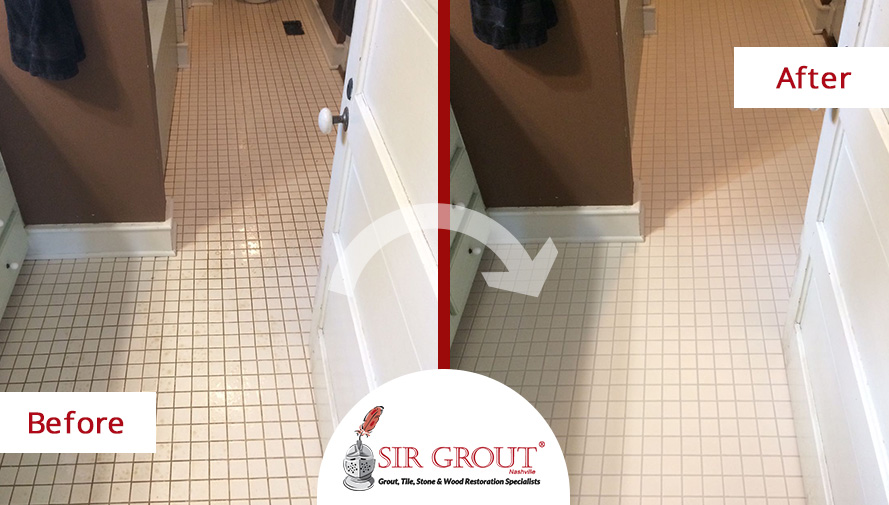 This Homes Bathroom Floor Completely Changed After A Grout Cleaning - Bathroom grout cleaning services