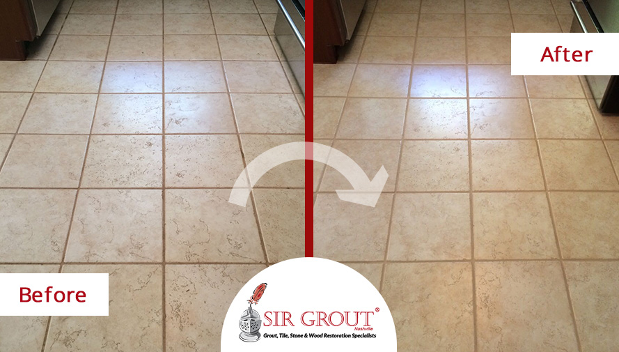 a grout cleaning service gave this kitchen floor the clean look it
