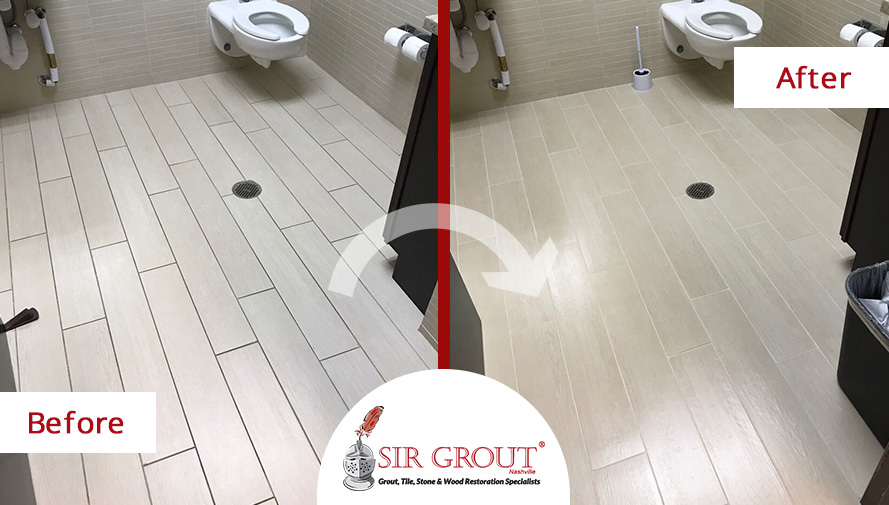Before and After Picture of a Floor Grout Cleaning Service in Franklin, TN