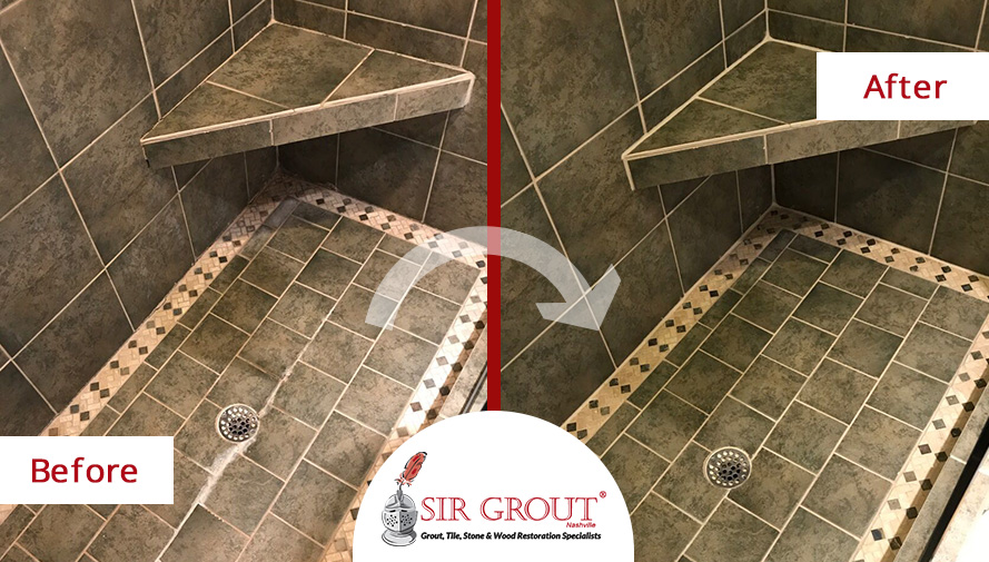 A Tile Cleaning In Franklin TN Revived The Deep Green Color Of These - Bathroom tile cleaning service