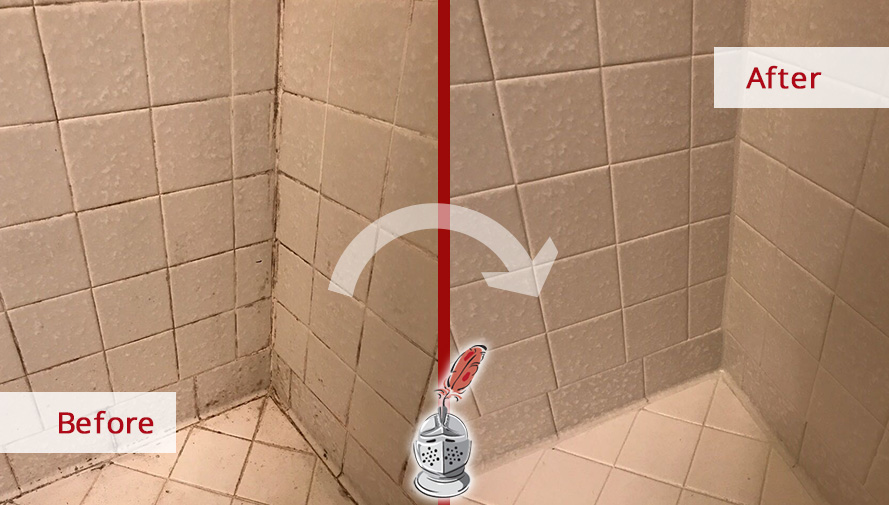 our tile and grout cleaners restored this moldy shower in franklin tn