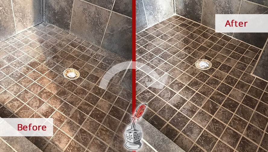 Before and After Picture of a Tumbled Marble Shower Floor Caulking Service in Columbia, Tennessee