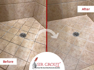 Before and After Picture of a Shower Grout Sealing in Murfreesboro, Tennessee