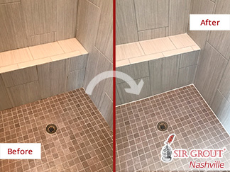 Before and After Picture of a Shower Floor Grout Sealing Job in Hendersonville, Tennessee