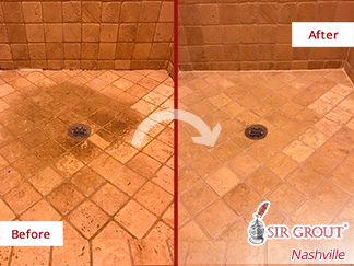 Before and After Picture of a Marble Shower Floor Stone Cleaning Experts in Franklin, Tennessee