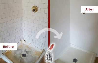 Before and After Picture of a Franklin Shower Tile and Grout Cleaned to Remove Soap Scum