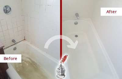 Before and After Picture of a Goodlettsville Bathtub Caulked to Repair Cracks