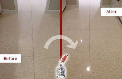 Before and After Picture of a Mount Juliet Granite Stone Floor Polished to Repair Dullness