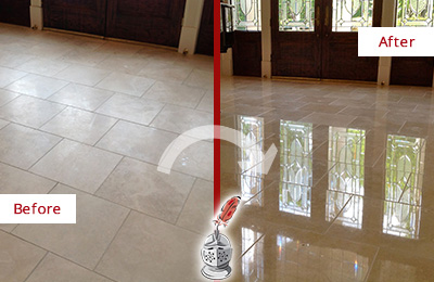 Before and After Picture of a Dull Mount Juliet Travertine Stone Floor Polished to Recover Its Gloss