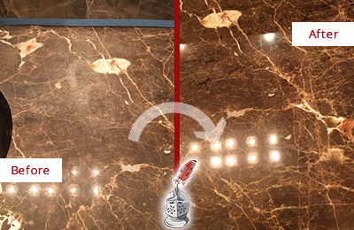 Before and After Picture of a Mount Juliet Marble Stone Countertop Polished to Eliminate Stains