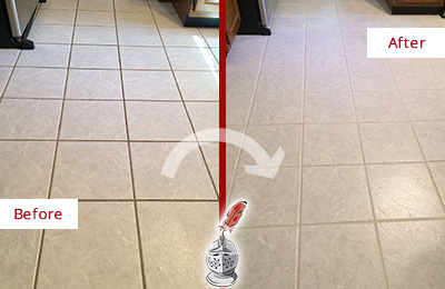 Before and After Picture of a Lakewood Kitchen Ceramic Floor Sealed to Protect From Dirt and Spills