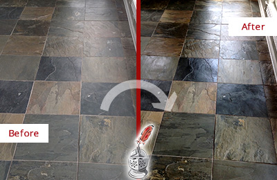 Before and After Picture of a Dull Lakewood Slate Floor Sealed to Bring Back Its Colors