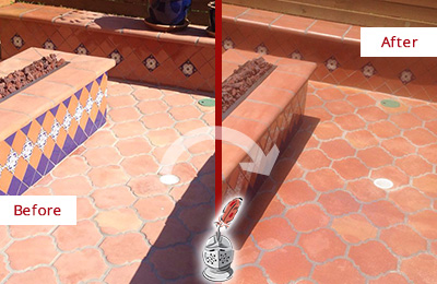 Before and After Picture of a Dull Lakewood Terracotta Patio Floor Sealed For UV Protection