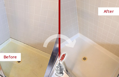 Before and After Picture of a Lakewood Shower Sealed to Remove and Protect Against Mold