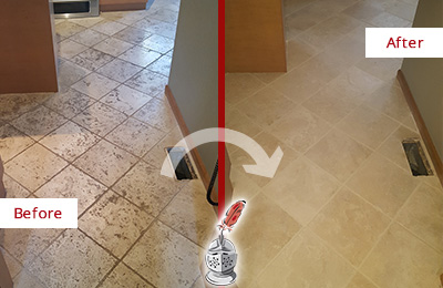 Before and After Picture of a Old Hickory Kitchen Marble Floor Cleaned to Remove Embedded Dirt