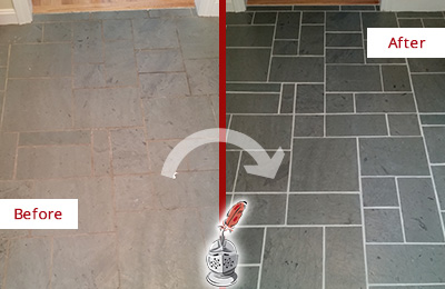 Before and After Picture of a Old Hickory Slate Floor Cleaned to Remove Deep-Seated Dirt