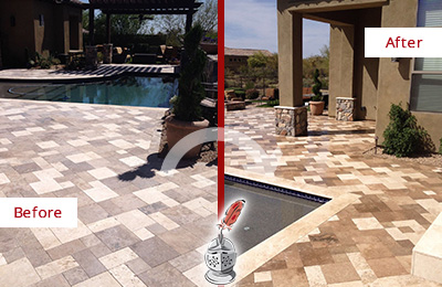 Before and After Picture of a Dull Old Hickory Travertine Pool Deck Cleaned to Recover Its Original Colors