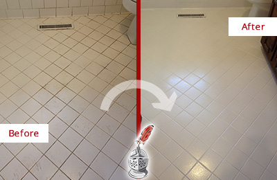 Before and After Picture of a Brentwood White Bathroom Floor Grout Sealed for Extra Protection