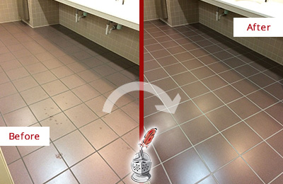 Before and After Picture of Dirty Brentwood Office Restroom with Sealed Grout