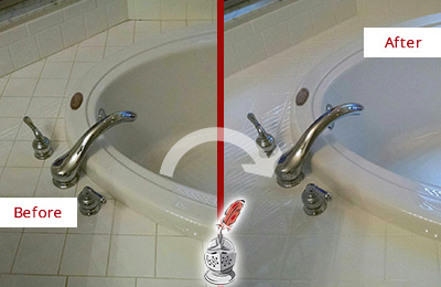 Before and After Picture of a Hotel Bathtub Caulking Repair