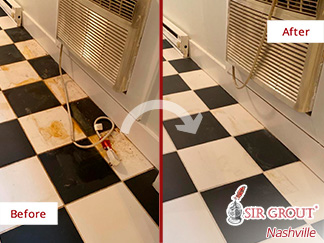 Before and After Picture of a Tile Cleaning in Nashville, TN