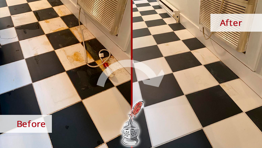 Ceramic Floor Before and After a Tile Cleaning in Nashville, TN