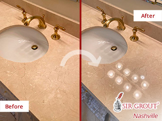Before and After Picture of a Stone Polishing in Belle Meade, TN