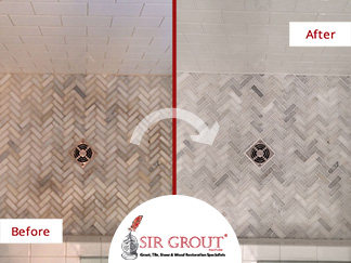 Before and After Picture of a Shower Tile and Grout Cleaning Service in Franklin, Tennessee