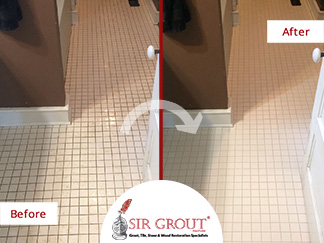 Before and After Picture of a Bathroom's Grout Cleaning Service in Franklin, Tennessee