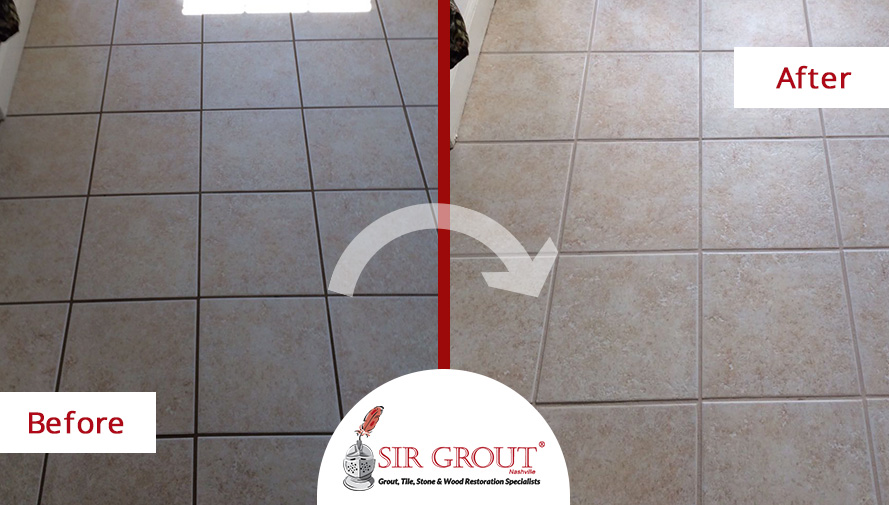Before and After Picture of Grout Cleaning Service in Thompson's Station, TN