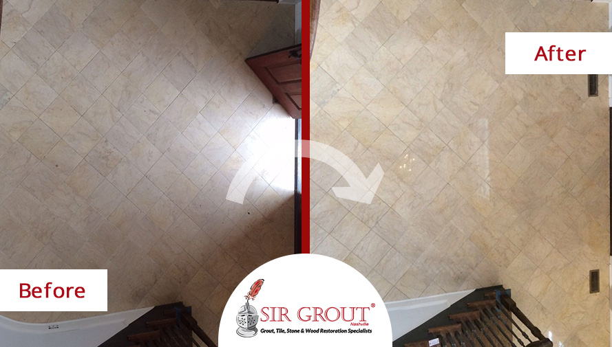 Before and After Picture of a Stone Honing and Polishing Service in Nashville, TN