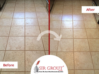 Before and After Picture of a Grout Cleaning Service in Nashville, Tennessee