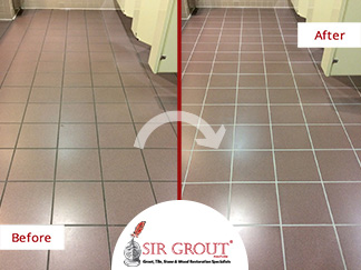 Before and After Picture of a Tile Cleaning Service in Murfreesboro, TN