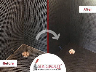 Before and After Picture of a Tile Shower Grout Recoloring Service in Nashville, Tennessee
