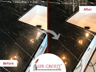Before and After Picture of a Black Marble Countertop Stone Honing Service in Franklin, Tennessee