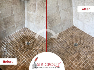 Before and After Picture of a Grout Cleaning and Sealing Service in Hendersonville, TN