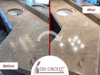 Before and After Picture of a Vanity Top Stone Honing Service in Brentwood, TN