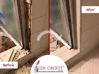 Before and After Picture of a Tile and Grout Cleaners in Franklin, TN