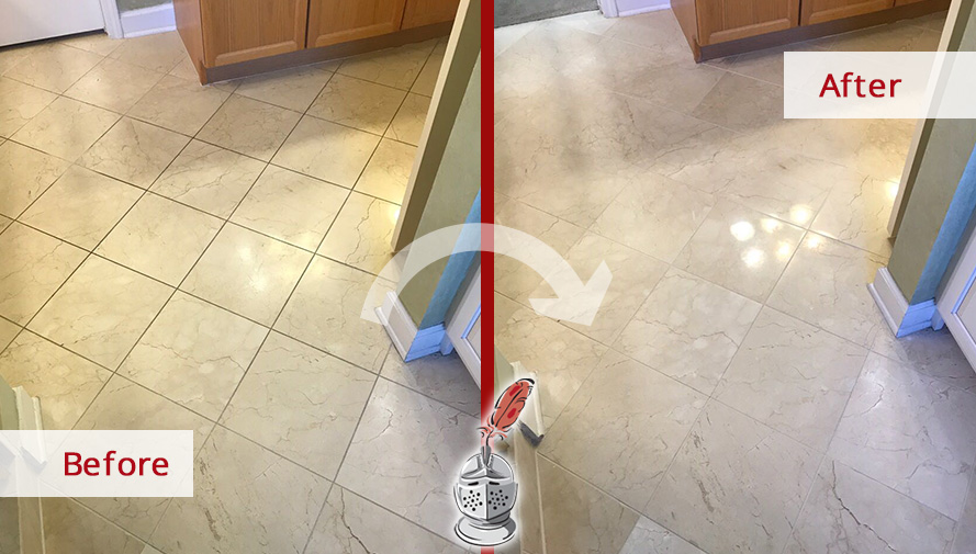 Before and After of a Marble Bathroom Floor Stone Honing and Polishing Service in Nashville, Tennessee