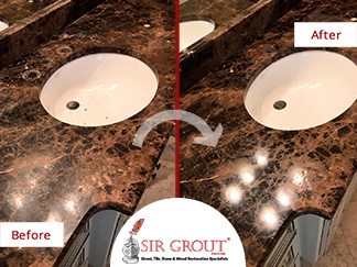 Before and After Picture of a Marble Countertop Stone Honing and Polishing in Brentwood, Tennessee