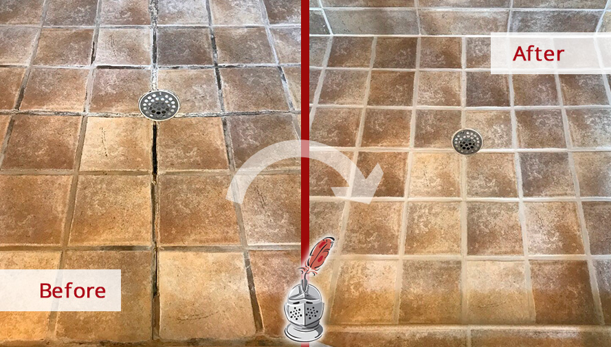 Before and After Picture of a Shower Caulking Job in Franklin, Tennessee
