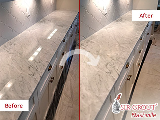 Before and After Picture of a White Carrara Marble Countertop Stone Honing Service in Nashville, Tennessee