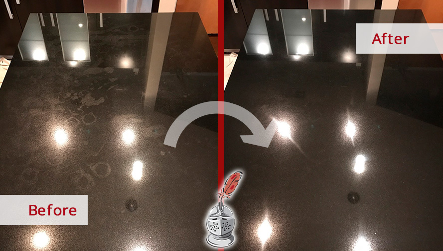 Before and After Picture of a Black Granite Countertop Stone Polishing in Nashville, Tennessee