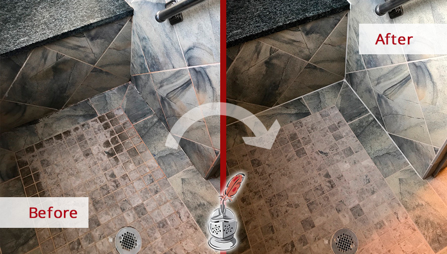 Before and After Picture of a Tile Shower Grout Sealing in Murfreesboro, Tennessee