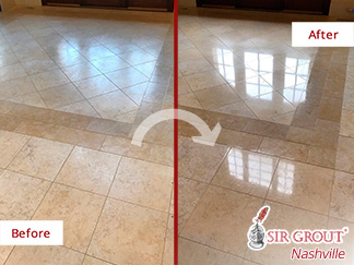 Before and After Picture of a Limestone Floor Stone Honing and Polishing Experts in Franklin, Tennessee