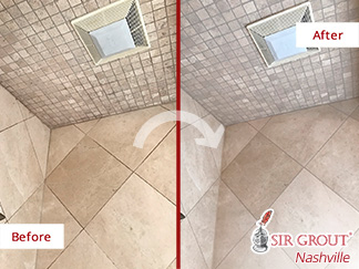 Before and After Picture of a Marble Shower Stone Cleaning Service in Brentwood, Tennessee