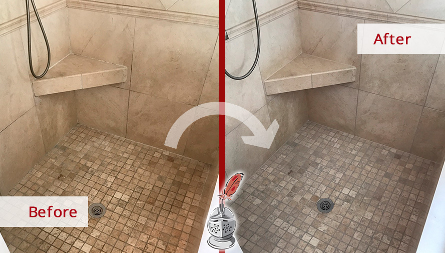 Before and After Picture of a Marble Shower Floor Stone Cleaning Service in Brentwood, Tennessee