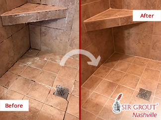 Before and After Picture of a Ceramic Tile Shower Floor Caulking Services in Murfreesboro, Tennessee