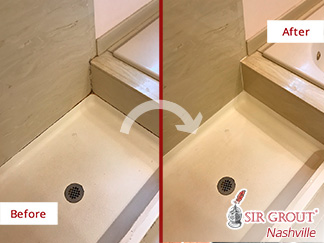 Before and After Picture  of a Marble Shower Caulking Service in Brentwood, TN