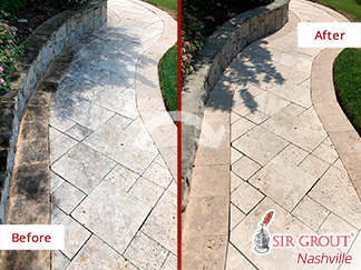 Before and After Picture of a Travertine Walkway Floor in Brentwood, Tennessee